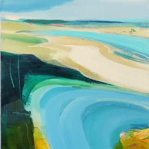 Seascape in blue, ochre, mint green