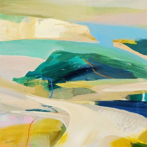 Small Seascape in blue, ochre, mint green