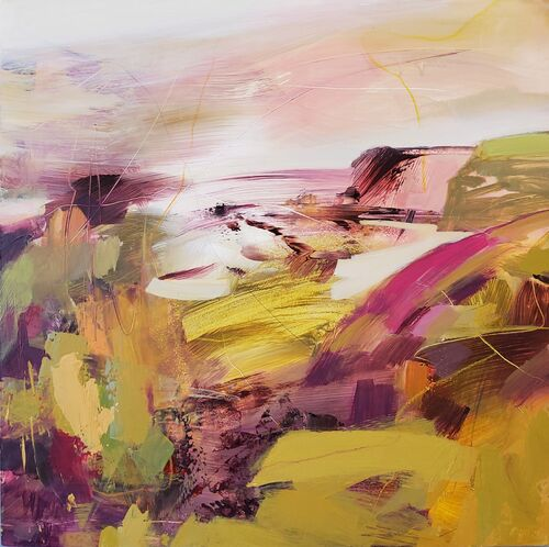 Seascape in ochres and pinks contemporary style