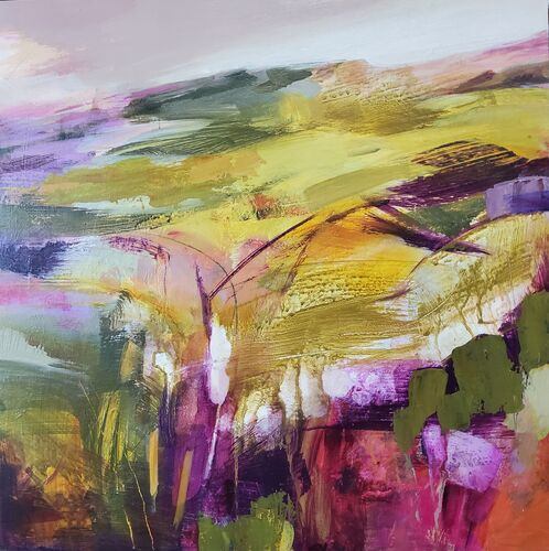 Contemporary landscape painting in ochre, purples, pinkscolours