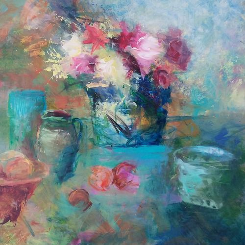Still life painting of a hotel of flowers with pots and peaches in turquoise, pale pink and crimson