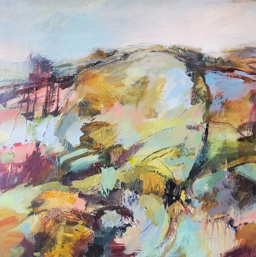 landscape painting of a hill top in blues, pinks, ochre, aqua