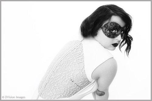 black mask & white dress