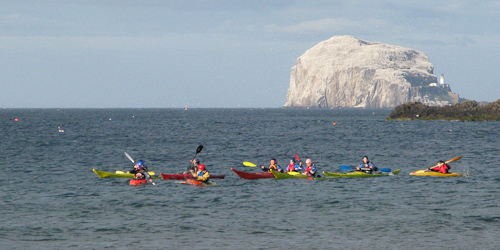 kayaks and bass rock