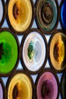 Coloured glass door panel