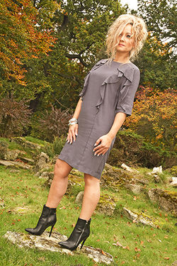 Grey Dress and Black Ankle Boots