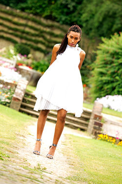 Ashani in a White Dress and Black and White Leopard shooes Look book Summer Fashion shoot