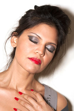 Jasmine Smokey Grey eyes and Rich Red Nails Look book shoot