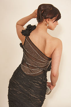 Black Satin and Diamonds Evening Gown