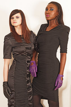Black Satin Quilted Dress and Black Cotton Dress