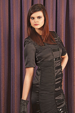 Black Satin Quilted Dress