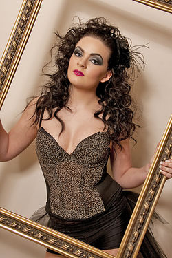 Framed Beauty Victoria in a Leopard skin Dress Make up by Roobia