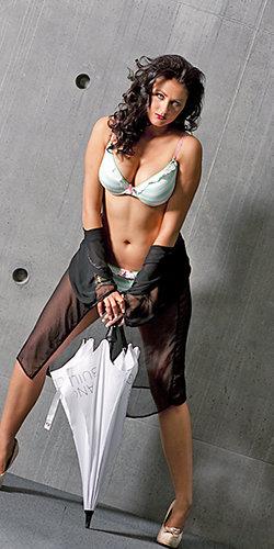Tamara in a Stripey Lingere set White Umbrella  and Chiffon Jacket