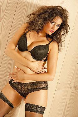 Tamara wearing Black Lingerie and Stockings