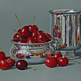 A Bowl of Cherries with a Silver Mug