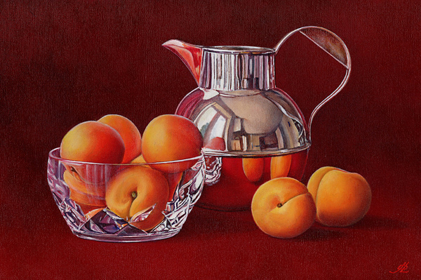 Apricots in a Crystal Bowl