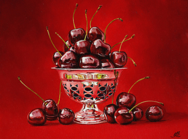 Black Cherries in a Silver Dish