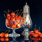 Cherries and a Silver Sugar Shaker