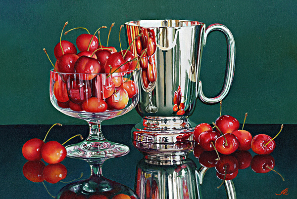 Cherries with a Silver Tankard