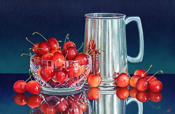 Cherries with a Pewter Mug