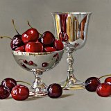 Cherries with a Silver Dish and Goblet