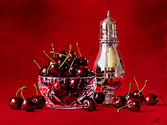 Cherries with a Crystal Bowl and Silver Sugar Shaker