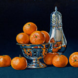 Clementines with a Silver Bowl and Sugar Shaker