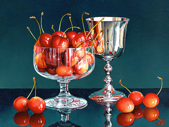 A Dish of Cherries with a Silver Goblet