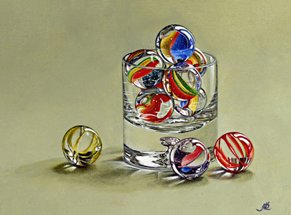 Glass with Marbles