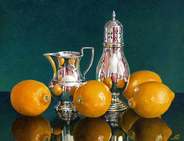 Lemons with a Silver Jug and Sugar Shaker