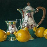 Lemons with a Silver Pot and Jug