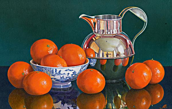 Mandarin Oranges with a Silver Jug