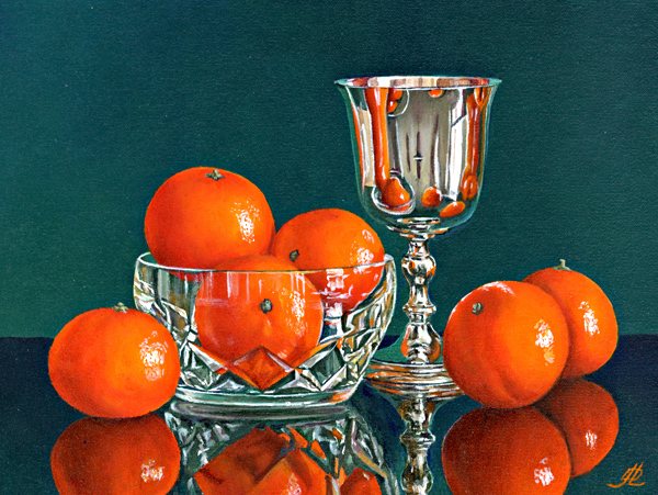 Mandarin Oranges with a Silver Goblet
