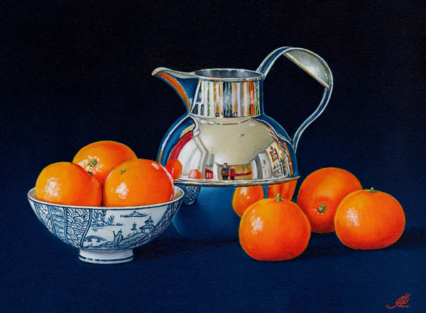 Mandarin Oranges with a Silver Jug and Chinese Bowl