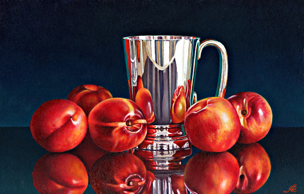 Nectarines with a Silver Tankard