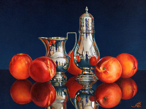 Nectarines with a Silver Jug and Sugar Shaker