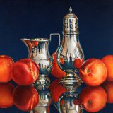 Nectarines with a Silver Jug and Sugar Shaker