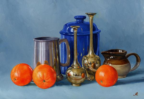 Pewter Brass & Three Oranges