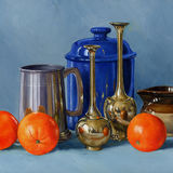 Pewter Brass & Three Oranges
