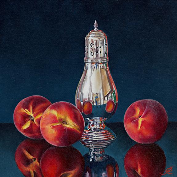 Peaches with a Silver Sugar Shaker