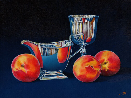 Peaches with a Silver Jug and Goblet