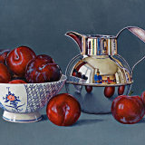 Plums in a China Bowl with a Silver Jersey Jug