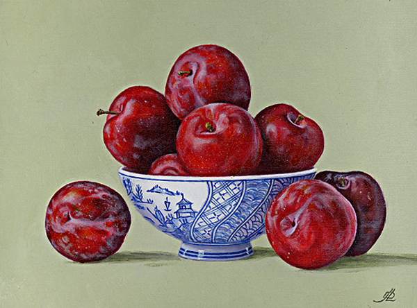 Plums in a China Dish