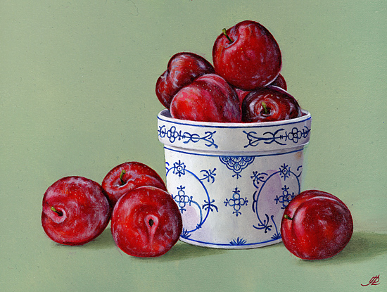 Plums in a China Pot