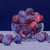 Plums in a Crystal Bowl