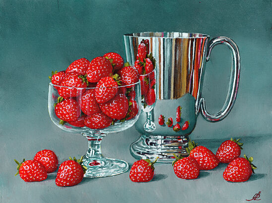 Strawberries with a Silver Tankard