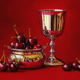A Silver Bowl with Cherries