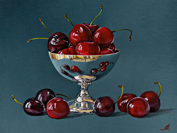 A Silver Dish with Cherries