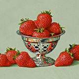 A Silver Dish with Strawberries
