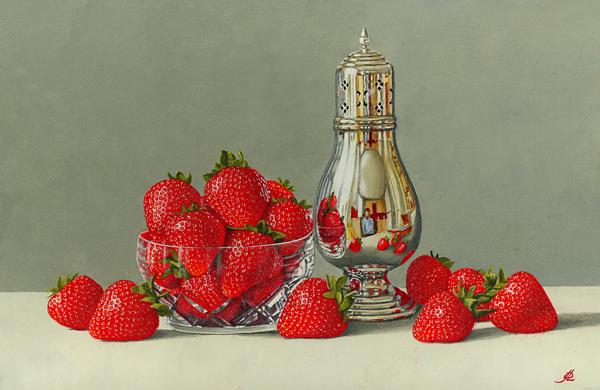 Strawberries, a Crystal Bowl and a Silver Sugar shaker